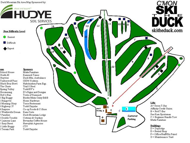 Duck Mountain Ski Area Map